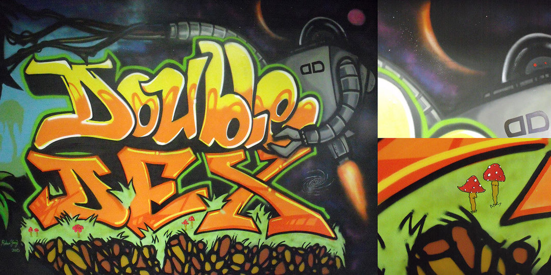 Double Dex graffiti mural