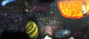 Milky Way Galaxy mural painted by artist Grey Matter