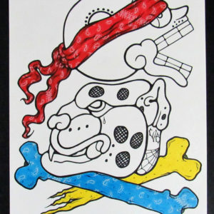 Chicano Skull & Jaguar illustration ink on bristol board