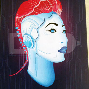 Cyber chick 001 cyberpunk sticker illustrative background