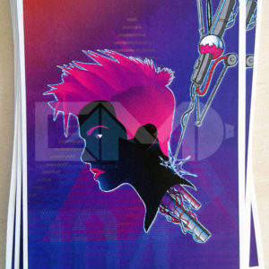 Cyber chick 004 cyberpunk sticker illustrative background