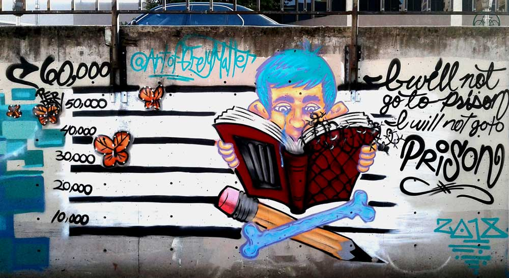 'Schools Not Prisons' for Wide Open Walls 2018 Street Art Party
